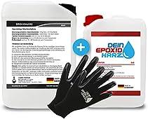 Epoxy-harts 10 kg glasfibersats | professionell kvalitet klar och luktfri laminering och harts med härdare och handskar, inkl. engelska instruktioner ..
