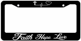 OwnTheAvenue Faith Hope Love Symbol Heart Cross Christian Jesus Christ License Plate Frame (TopNBottomArt)