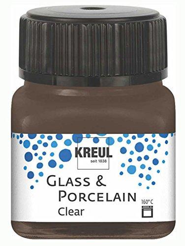 Kreul 16298 - Glass & Porcelain Clear espressobraun, im 20 ml Glas, transparente Glas- und Porzellanmalfarbe auf Wasserbasis, schnelltrocknend, glasklar