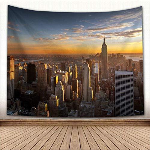 Tapiz,Moderno Paisaje De La Ciudad De Nueva York En Una Cálida Puesta De Sol Empire State Building Skyline 3D View Tapices Decoración Vintage Trippy Large Manta Decoración Para Dormitorio Sala De