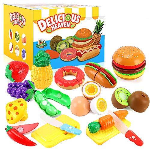 PEAINBOX 33 Pezzi Set Accessori Cucina Bambini, Frutta e Verdura Giocattolo, Frutta e Finti Alimenti da Tagliare Giocattolo, Cibo Giocattolo per Bambini 3+ Anni
