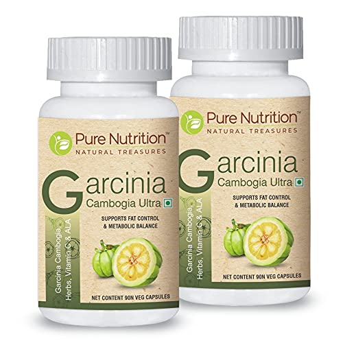 Pure Nutrition Garcinia Cambogia Ultra (Fruit Extract) Natural Weight Management Formula with Vitamin C & Vitamin B6 500mg - Combo Pack of 2 (Veg 90 Capsules per bottle)