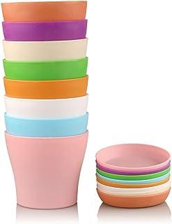 KINGLAKE 8 Pezzi 14cm Colorati vasi in plastica per Fiori, per Interni, per Ufficio e casa con vassoi, Multi