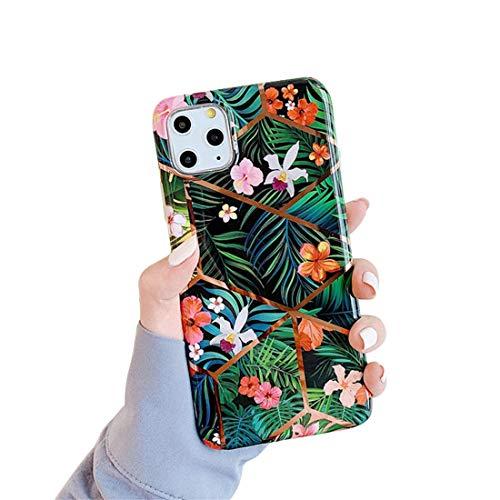 Coque iPhone 11, Coque iPhone 11 Pro Housse de Protection Case Élégant Bling Mode Chic Fleurs Feuilles Peintes Bumper TPU Silicone Case Cover Anti-Rayures Housse Étui pour Apple iPhone 11 Pro Max