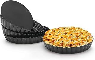 6 Inch Tart Pan, Beasea 4pcs Small Pie Pans Removable Bottom Mini Tart Pans Non Stick Pie Pan, Loose Bottom Fluted Tart Pa...