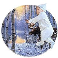 ソフトラウンドエリアラグ 80x80cm/31.5x31.5IN 滑り止めフロアサークルマット吸収性メモリースポンジスタンディングマット,冬の動物の森のムース