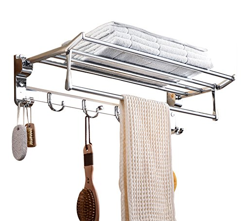 Kernorv Handtuchhalter Badregal Edelstahl-Optik Handtuchständer mit Doppelhaken Wandregal für Badezimmer