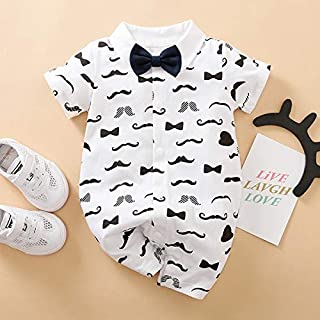 Romper Pyjama Baby Infant Toddler Printed White Gentleman Bow Ties Tuxedo Romper Formal Outfits Jumpsuit Clothe Short Slee...