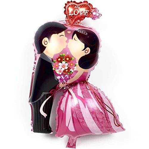 DIWULI, Hochzeit Luftballon Paar, Mr and Mrs, Braut und Bräutigam Kuss, Brautpaar, Just Married Folien-Luftballon, Folien-Ballon Hochzeitsfeier, Hochzeitstag, Silber-Hochzeit, Dekoration, Love, Blumen
