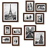 Homemaxs Picture Frame Set Collage 11 PCS - Family Rustic Wood Photo Frames with Four 4x6 in   Four 5X7 in   Two 8X10 in   One 11X14 in- Gallery Wall Frames with Mat for Wall or Desktop - Black Walnut