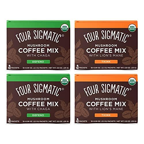 Four Sigmatic Mushroom Coffee Mix Pack of 4 - Lions Mane and Chaga & Cordyceps and Chaga - 10 Packets Per Box