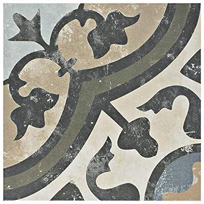 "SOMERTILE SomerTile FPESAJB Murcia Ceramic Floor and Wall Tile, 13"" x 13"", Blanco"