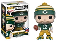 From the Green Bay Packers, Aaron Rodgers, as a stylized POP vinyl from Funko! Stylized collectable stands 3 3/4 inches tall, perfect for any NFL fan! Collect and display all Funko NFL Pop! Vinyls!