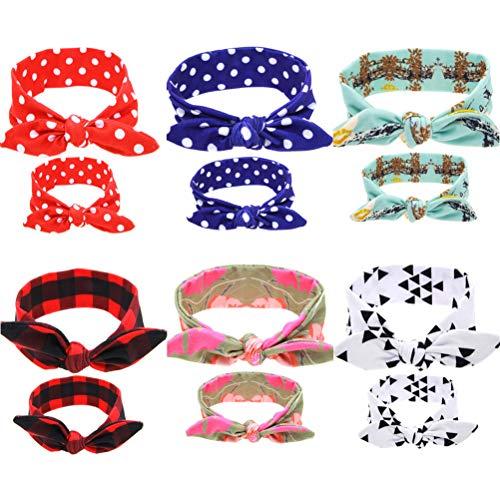 SKEPO Baby Stirnbänder Haarbänder Headwrap Hasen Ohren Mom und Me Kleinkinder 6 Paar