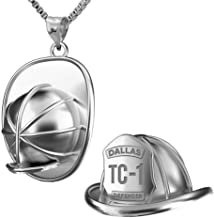 PicturesOnGold.com 3D Firefighter Helmet with Badge Number & Department in Solid Sterling Silver, Solid 14k Gold, or Stainless Steel