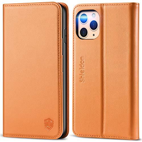 SHIELDON iPhone 11 Pro Max-hoesje, Wallet-hoesje met Automatisch Wekken/Slapen, RFID-blokkering, Kaartsleuven, Standaard, TPU-schaal, Compatibel met iPhone 11 Pro Max (6,5 inch), Bruin
