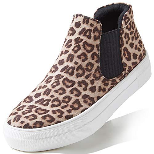 DailyShoes High Top Ankle Support Sneakers for Women Sneaker Shoe for Women Platform Slip-On Sneakers Close Toe Memory Foam Slip On Shoes Ballet Flats Flat Skate Walking Leopard Sv,7