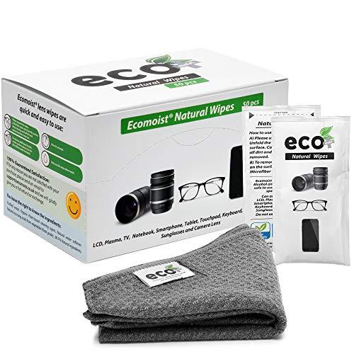Ecomoist Toallitas de limpieza de lentes, 50 toallitas de limpieza prehumedecidas y envueltas individualmente con una fina toalla de microfibra ideal para gafas, móviles, lentes de cámara