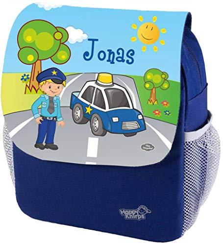 Mein Zwergenland Kindergartenrucksack Happy Knirps Next Print mit Name Polizei, 6L, Blau