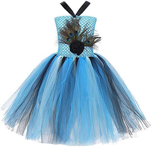 General Disfraz de Pavo Real para niños Cosplay niña Festiva Princesa tutú Vestido con Fiesta de Plumas de Pavo Real Vestidos de Desfile de Carnaval Gr.80-152-86-92_Lago Blau