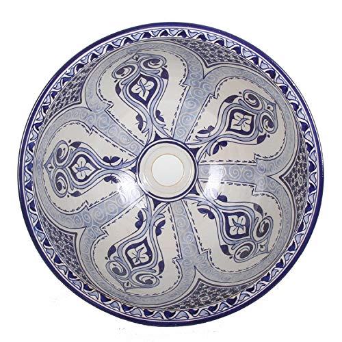 Casa Moro Mediterranes Keramik-Waschbecken Fes94 rund Ø 40 cm bunt Höhe 18 cm Handmade Waschschale | Marokkanisches Handwaschbecken Aufsatzwaschbecken für Bad Gäste-WC | WB40304