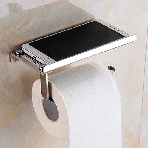 Portarrollos de papel higiénico de acero inoxidable con soporte de teléfono, puerta rollo papel pared cepillado para cuarto de baño inodoro con con estantería de almacenamiento