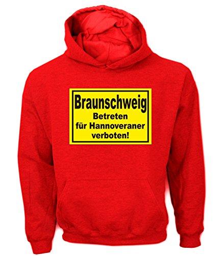 Artdiktat Herren Hoodie Braunschweig - Betreten für Hannoveraner verboten! Größe L, rot