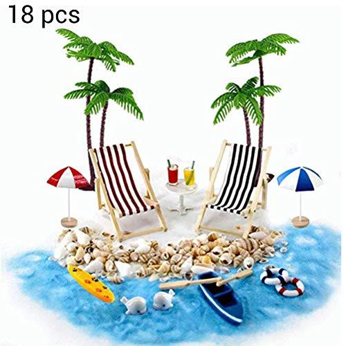 Qiekenao - Juego de juguetes en miniatura para playa, sombrilla, silla, diseño de árbol de coco