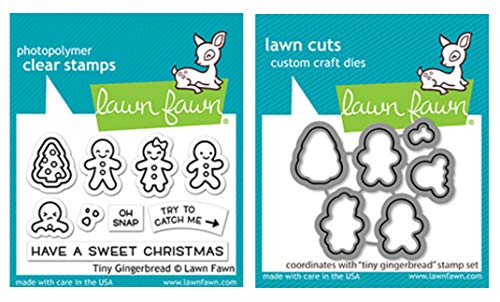 Lawn Fawn Tiny Gingerbread Clear Stamps and Coordinating Dies, Bundle of 2 Items (LF2417, LF2418)