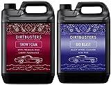 Dirtbusters–Set di 2flaconcini da 5L di shampoo detergente con cera lucida per auto, al profumo di ciliegia e prodotto detergente per ruote in lega non acido in schiuma, per pulizia professionale