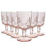 Bormioli Rocco Romantique Verres à vin Set - Verre Vintage Cut Italien Gobelets - 320ml - Rose - Lot de 6