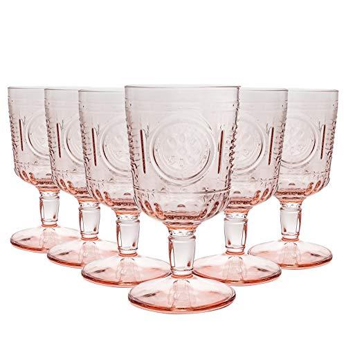Bormioli Rocco Romantische Weingläser Set - Vintage italienische Cut Glasbecher - 320ml - Rosa - 6er Pack