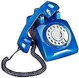 Teléfono con Cable Teléfono Retro Línea Fija Oficina Europea Hogar Teléfono de plástico Dial Giratorio Teléfono Vintage Teléfono inalámbrico Creativo (Color: Azul Cielo)