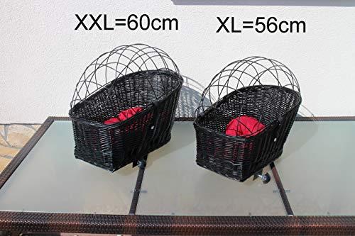 Marcus´ Weidenhandel Hundefahrradkorb für Gepäckträger aus Weide mit Metallgitter und Kissen Schwarz XL oder XXL Gepäckträgerkorb Weidenkorb Hundekorb Tierkorb (XL ohne Kissen)