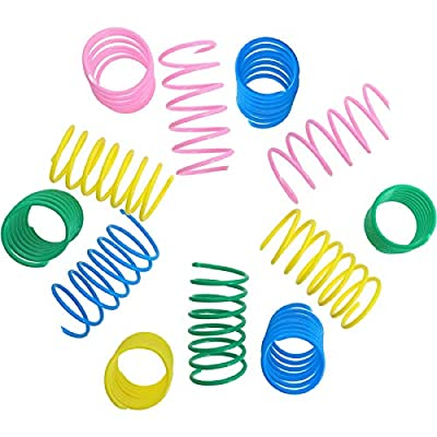 12 Pieces Colorful Spring Cat Toy Plastic Coil Spiral Springs Durable Interactive Toys for Cat Kitten Pets Novelty Gift