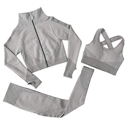 OMMO LEBEINDR 3Pcs Seamless Frauen Yoga-Anzug Langarm Mantel Weste Leggings Fitnessanzug Gym Sportbekleidung Set (Grau, S) ?OPP?