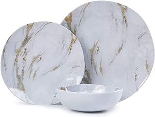 Melamine Dinnerware Set - 12pcs Dishes Dinnerware Set for 4, Everyday Use, Marble Pattern, Dishwasher Safe