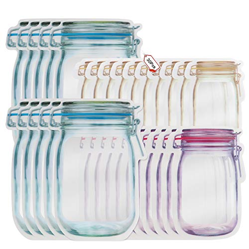 Bolsa de Botella Mason, Mason Jar Botellas Bolsas, Masón Bolsas Ziplock para Bocadillos, Bolsas Zipper para Bocadillos y Bolsas Reutilizable, Bolsas de Ahorro de Alimentos a Prueba de Fugas (30)