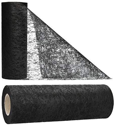 AmaCasa - Camino de mesa de fieltro (30 cm, 25 m), color negro