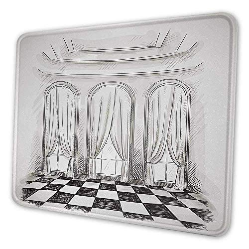 Antike Mauspad Muster Skizze Klassische Salon Ballsaal Halle Schloss Barock Theater Vorhänge Illustration Mauspad für Frauen Glitter Schwarz Weiß