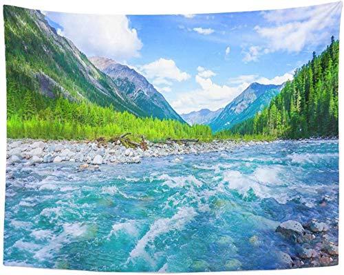 Verde por encima de la montaña salvaje río paisaje aéreo Creek tapiz colgante de pared para sala de estar dormitorio 150x200cm