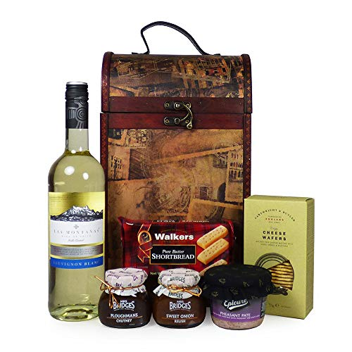 Las Montanas White Wine and Food Hamper Presented in a Vintage Style Wine Carrier - Ideas for Valentines, Mothers Day, Birthday, Wedding, Anniversary, Business and Corporate