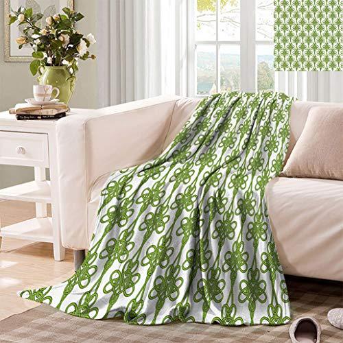 Irish All Season Blanket, Entangled Clover Leaves Twigs Celtic Pattern Botanical Filigree Inspired Retro Tile All Season Blanket for Couch Sofa Bed, 62' x 60' Green Cream