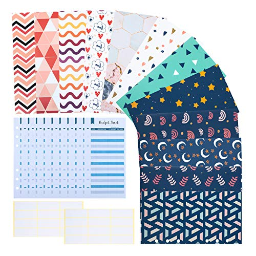 24 Pieces Budget Envelopes and Expense Budget Sheets A6 Binder Pockets 6 Holes Stylish Reusable for Cash Envelope System, Coupon Organizer, Budget Planner, Cash Envelope Wallet with 24 Pieces Stickers