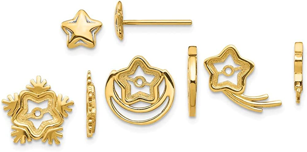 14K Yellow Gold And Rhodium Celestial Post Earrings W/Jacket Set