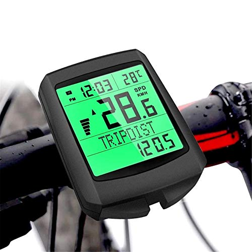 YYDM Multifunctional Bicycle Odometer, Waterproof Bicycle Computer, Display Real-Time Riding Data, Green Backlit Screen And Automatic Wake-Up