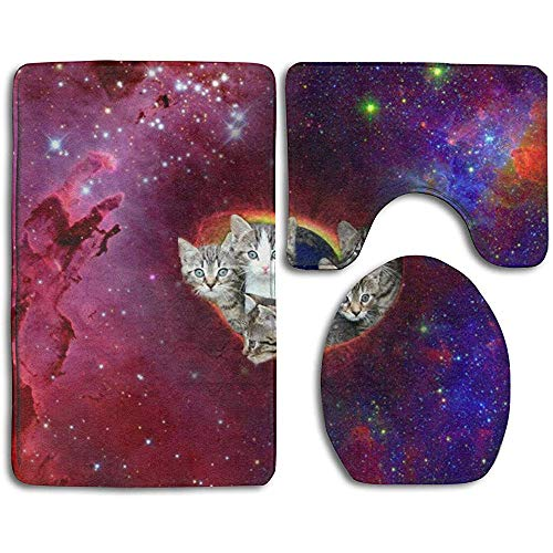 Anna-Shop kat dieren Galaxie achtergronden bedrukte badmat set 3-delige, anti-slip badmat + toiletbrilhoes + contourmat