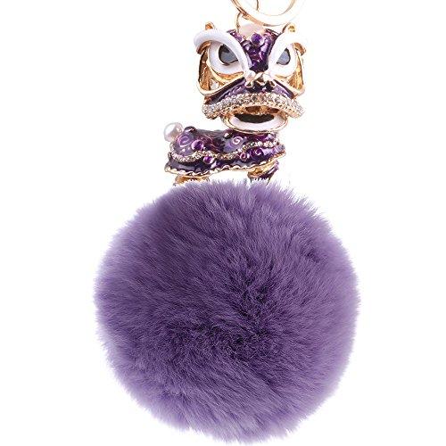Lady Colgante Unicornio Lady Llavero Estilo Chino Brave Hair Ball Metal Llavero Púrpura