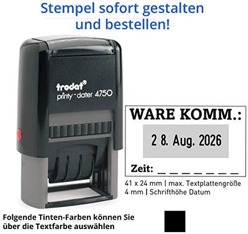 Stempel Trodat Printy 4750 Datumstempel mit Text (41x24 mm), für 2 Zeilen und Datum, in verschiedenen Farben, gleich Online gestalten!!! (schwarz)