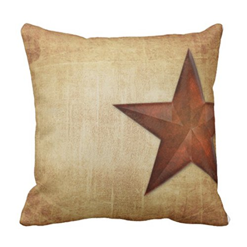 Emvency Throw Pillow Cover Rustic Barn Star Decorative Pillow Case Western Home Decor Square 18x18 Inch Cushion Pillowcase